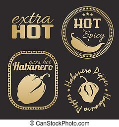 Extra hot chili and habanero pepper labels. Gold and black...