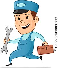 Handy Man - Happy handy man with wrench and tool bag vector...