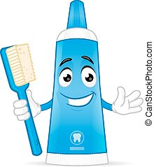Toothpaste - Blue toothpaste mascot character with...