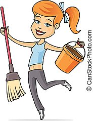 Cleaning lady - Happy young woman with mop and bucket vector...