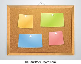 Pinboard - Wooden pinboard with different colored note...