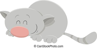 sleeping cat cartoon character - Cartoon Illustration of...