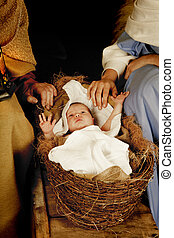 Christmas baby - 20 days old baby sleeping in a christmas...