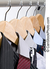 Dress Shirts and Ties on Hangers - Dress shirts and ties on...