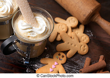 Gingerbread man with coffee - Gingerbread men cookie...