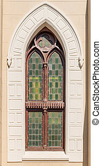 Window of the Dutch Reformed Church in Philippolis, the...