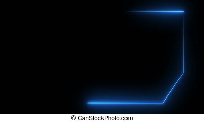 Abstract background with neon frame. Seamless loop