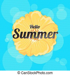 Summer Flowers Background or Summer floral Design on blue background