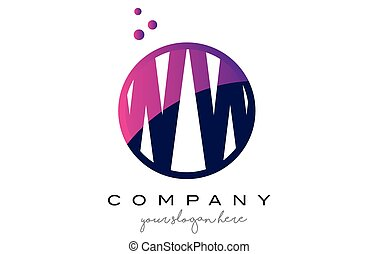 WW W Circle Letter Logo Design with Purple Dots Bubbles - WW...