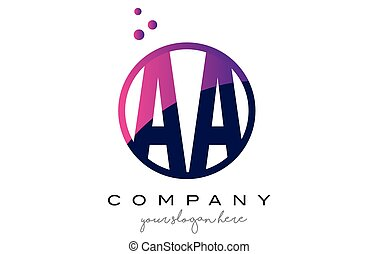 AA A Circle Letter Logo Design with Purple Dots Bubbles - AA...