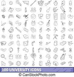 100 university icons set, outline style - 100 university...