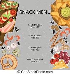 Snak restaurant menu template with different dishes and...