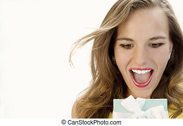 Surprise! - Beautiful Blonde Overjoyed by her Surprise Gift.