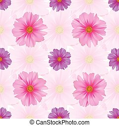 Seamless pattern with cosmos flower