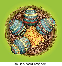Colorful happy easter eggs set in nest, vector illustration.