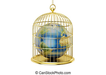 Birdcage with Planet Earth trapped inside, 3D rendering -...