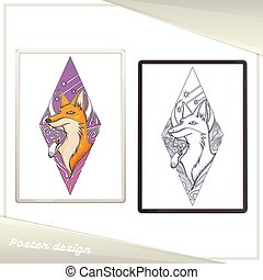 Design Poster in the Frame Fox - Design of a poster with a...
