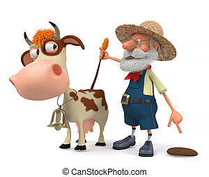 3d illustration the farmer with a cow - 3d illustration the...