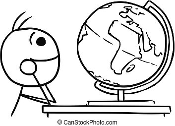 Vector Stickman Cartoon of Men Watching the Globe and Dreaming about Traveling