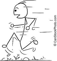 Vector Stickman Cartoon of Fast Running Man - Cartoon vector...