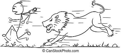 Vector Stickman Cartoon of Tourist Running Away from Lion -...