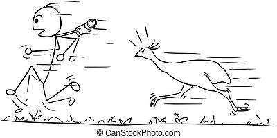 Vector Stickman Cartoon of Men Running Away Followed by...