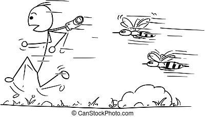 Vector Stickman Cartoon of Male Tourist Running Away...