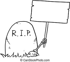 Vector Cartoon of Skeleton Arm is Sticking Out of The Grave Holding Empty Sign