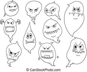 Cartoon Vector Set of Ghosts