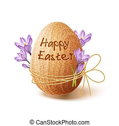 Easter poster with gold ribbon and crocus flowers - Easter...