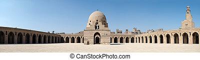 ibn,  panorama, Egipto, El Cairo, patio, fuente, mezquita, ablución, Feature,  tulun, minarete