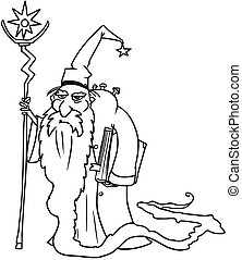 Cartoon Vector Medieval Fantasy Wizard Sorcerer or Royal Adviser
