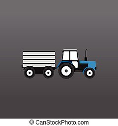 Blue and white tractor with a gray trailer on a gray...