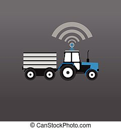 Blue with a white tractor with a trailer giving out wifi....