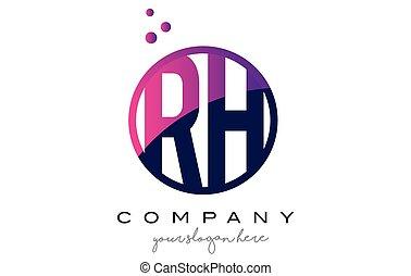 RH R H Circle Letter Logo Design with Purple Dots Bubbles -...