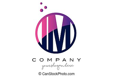 IM I M Circle Letter Logo Design with Purple Dots Bubbles -...