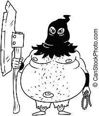 Cartoon Vector Medieval Fantasy Executioner Hangman with Axe...