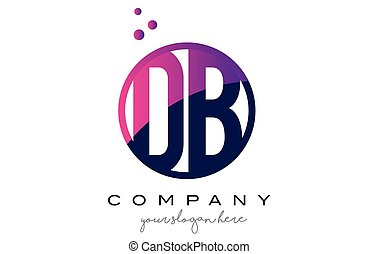 DB D B Circle Letter Logo Design with Purple Dots Bubbles -...