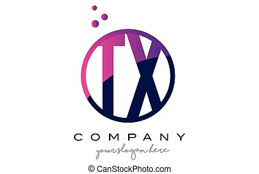 TX T X Circle Letter Logo Design with Purple Dots Bubbles -...