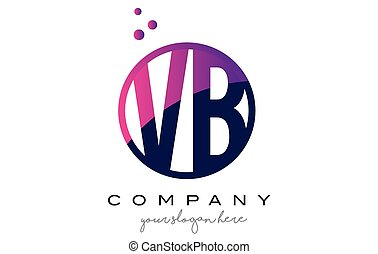VB V B Circle Letter Logo Design with Purple Dots Bubbles -...