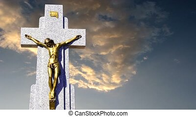 Jesus cross against sky