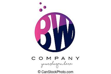 BW B W Circle Letter Logo Design with Purple Dots Bubbles -...
