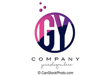 GY G Y Circle Letter Logo Design with Purple Dots Bubbles -...