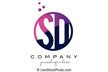 SD S D Circle Letter Logo Design with Purple Dots Bubbles -...