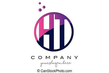 HT H T Circle Letter Logo Design with Purple Dots Bubbles -...