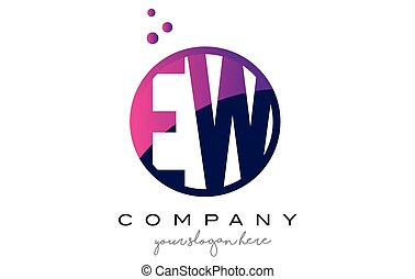 EW E W Circle Letter Logo Design with Purple Dots Bubbles -...