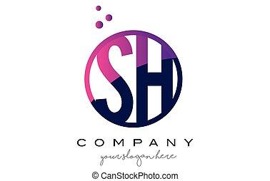 SH S H Circle Letter Logo Design with Purple Dots Bubbles -...
