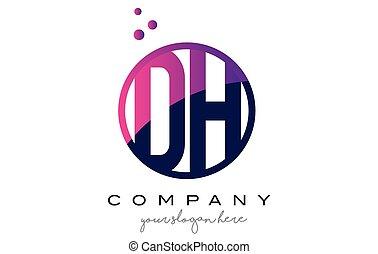 DH D H Circle Letter Logo Design with Purple Dots Bubbles -...