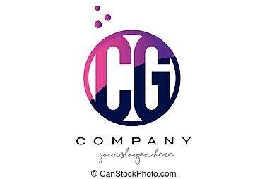 CG C G Circle Letter Logo Design with Purple Dots Bubbles -...
