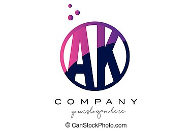 AK A K Circle Letter Logo Design with Purple Dots Bubbles -...